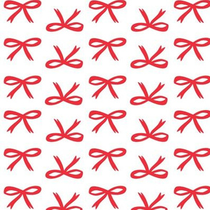 Christmas Bows - White Snow + Red