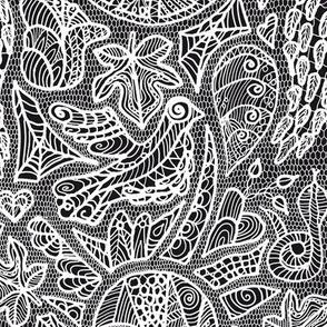 temptation - white lace on a black ground