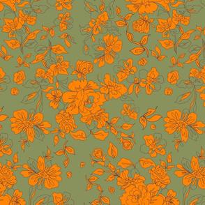 Vintage Floral Khaki Orange