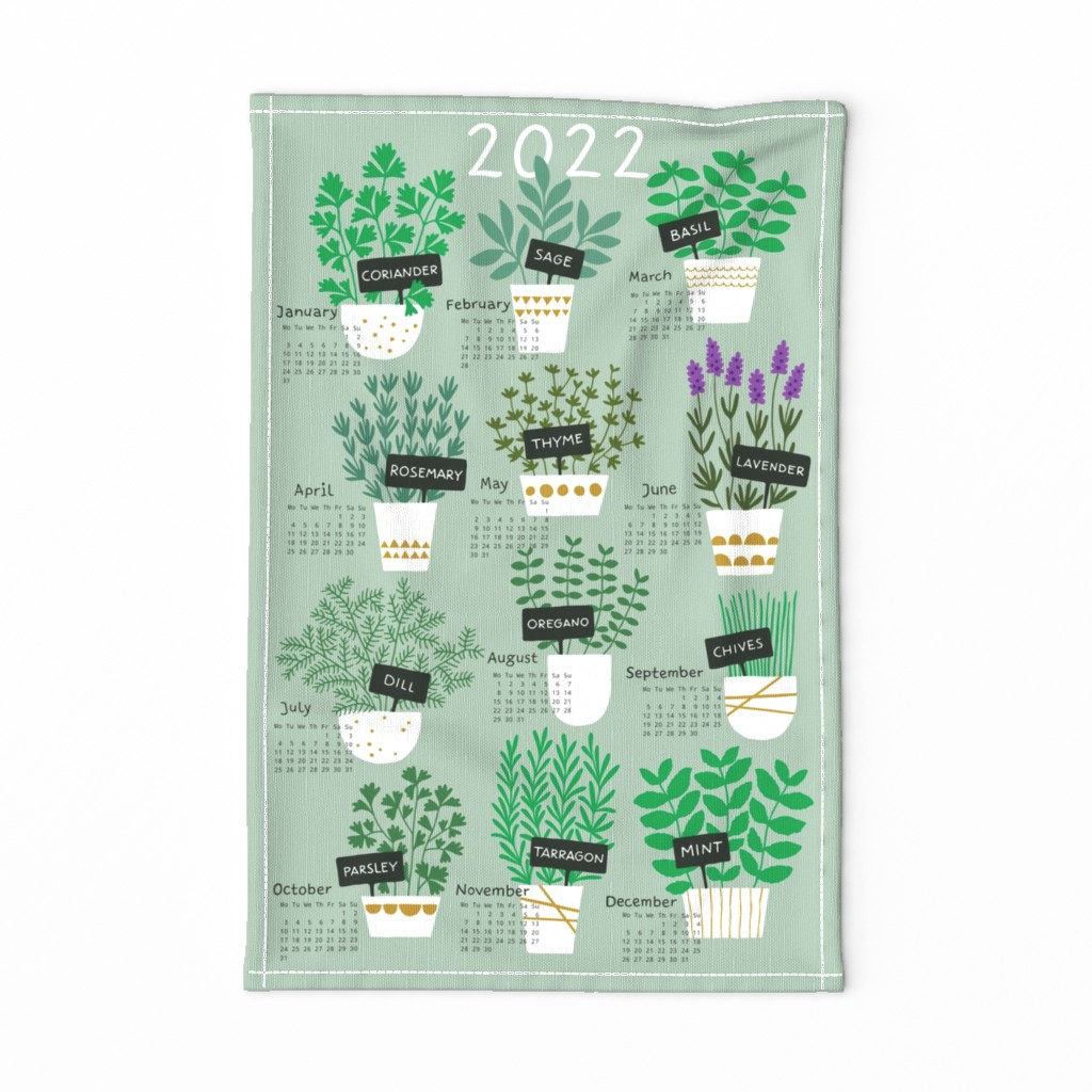 Special Edition Spoonflower Tea Towel featuring Herbs tea towel calendar 2020 (light) by heleen_vd_thillart
