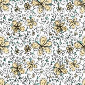Yellow Sweet Cream Flowers on White
