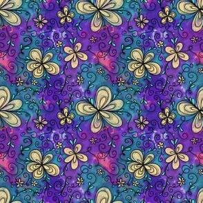 Project 096 | Cream Flowers on Purple