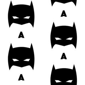 Superhero Bat Mask Initial A Black and White