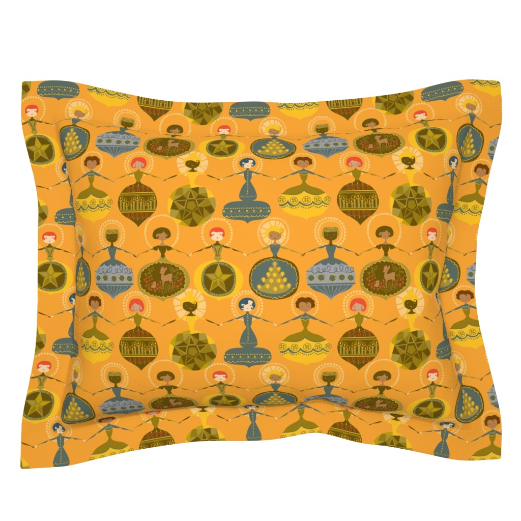 Sebright Pillow Sham featuring Vintage Ornament Collection - Yellow by ceciliamok
