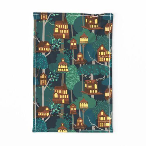 Tree Houses - tea towel