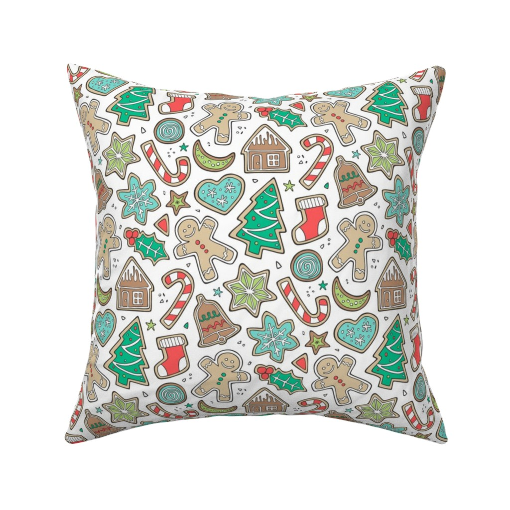 Catalan Throw Pillow featuring Christmas Xmas Holiday Gingerbread Man Cookies Winter Candy Treats on White by caja_design