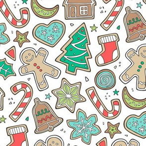 Christmas Xmas Holiday Gingerbread Man Cookies Winter Candy Treats on White