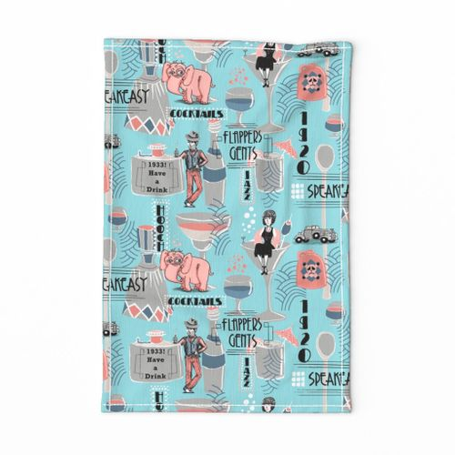 prohibition era, cocktails, anyone? crosswise version, blue coral pink gray turquoise aqua