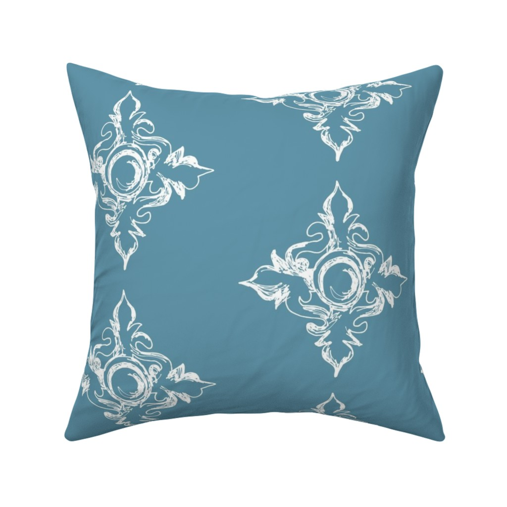 Catalan Throw Pillow featuring Medallion cerulean by arboreal