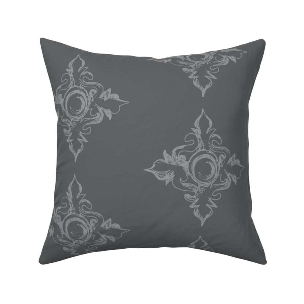 Catalan Throw Pillow featuring Medallion charcoal by arboreal