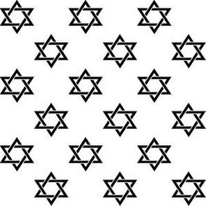 One Inch Black Star of David on White