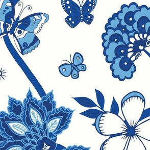 Willow pattern floral - blue and white - Medium