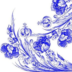 Rococo Floral Panel ~ Sevilla on White
