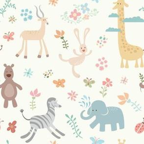 Wild Animals & Flowers - 8in (pastel)