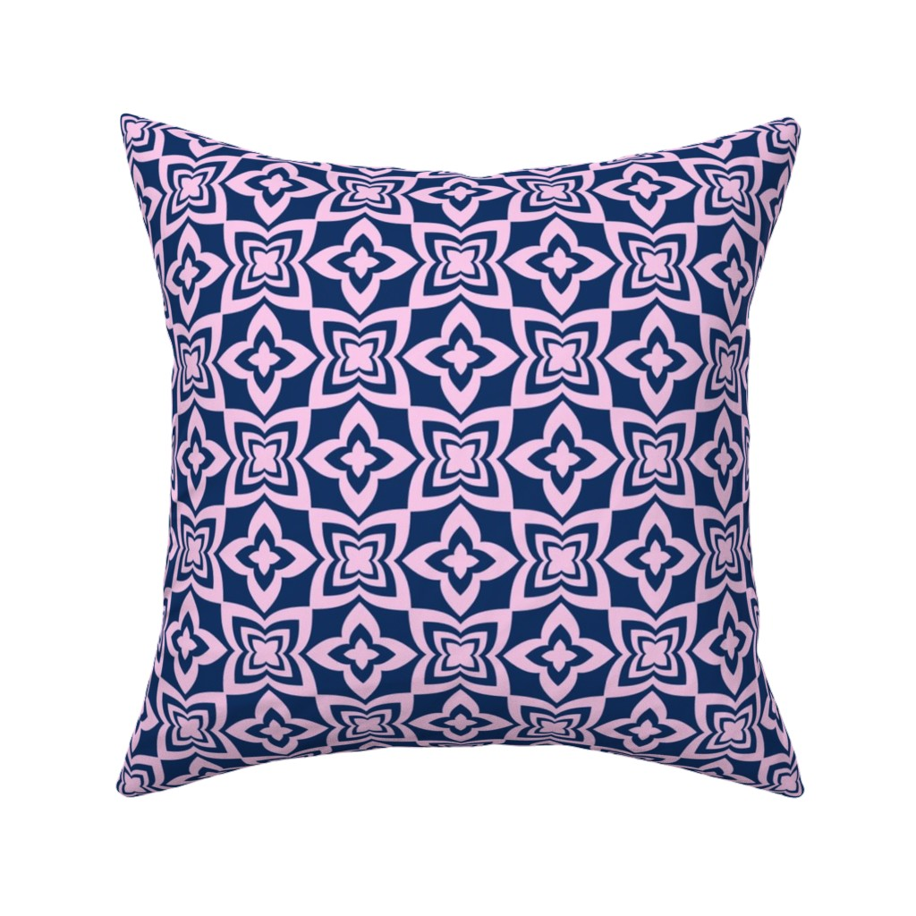 Catalan Throw Pillow featuring Floral Grid - Blue by zuzana_licko