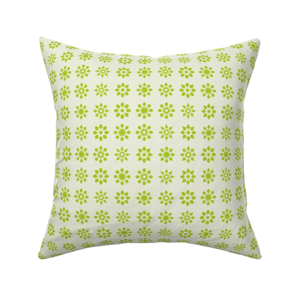Catalan Throw Pillow featuring Floral Stars - Green by zuzana_licko