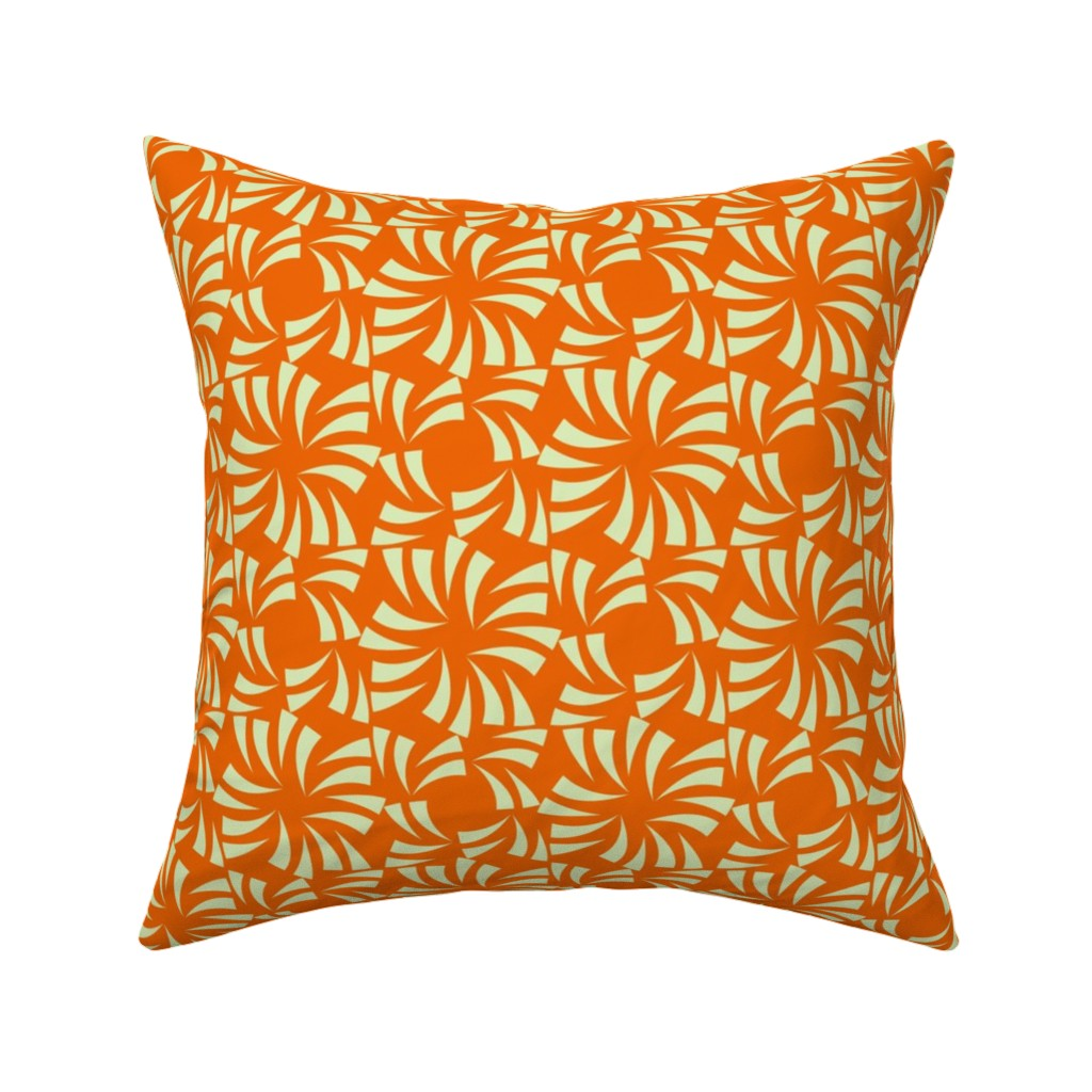 Catalan Throw Pillow featuring Geometric Floral - Orange by zuzana_licko