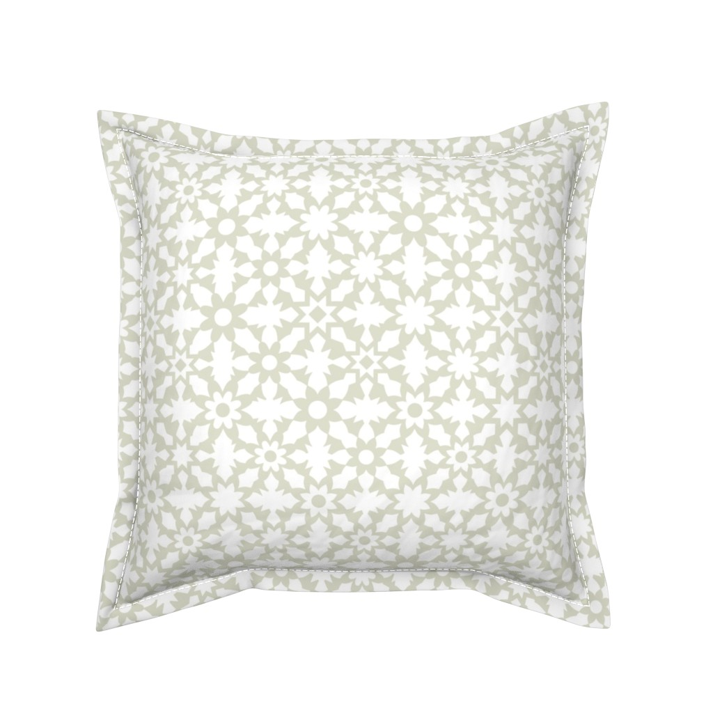 Serama Throw Pillow featuring Floral Field - White by zuzana_licko