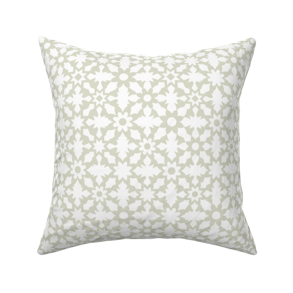 Catalan Throw Pillow featuring Floral Field - White by zuzana_licko