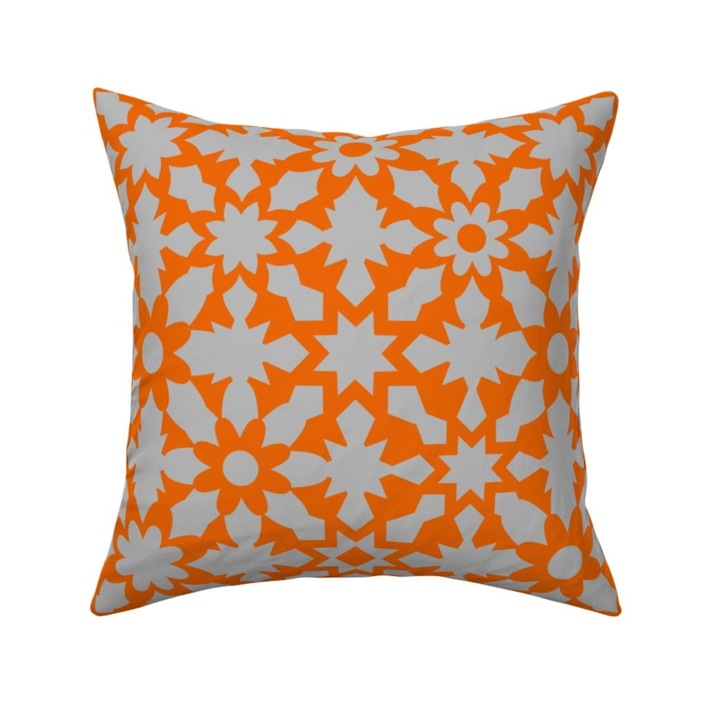 Catalan Throw Pillow featuring Floral Field - Orange Grey by zuzana_licko