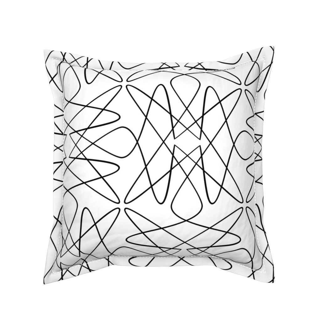 Serama Throw Pillow featuring Tangly Loops - Black + White by zuzana_licko