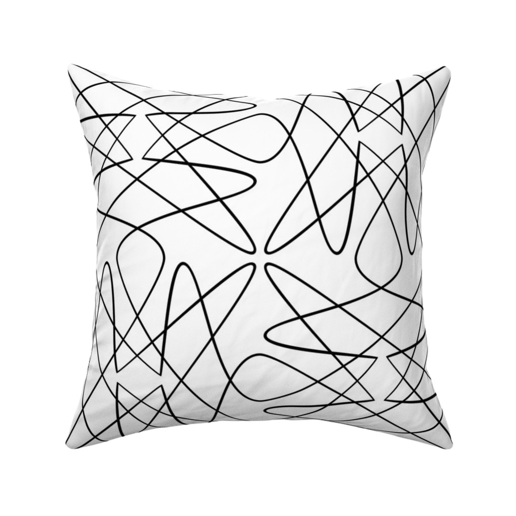 Catalan Throw Pillow featuring Tangly Loops - Black + White by zuzana_licko