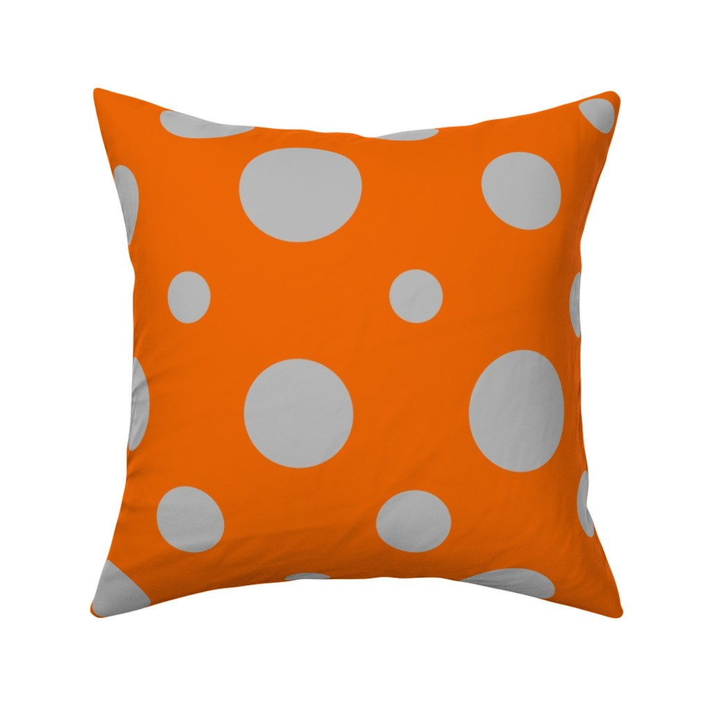 Catalan Throw Pillow featuring Party Dots Random - Orange by zuzana_licko
