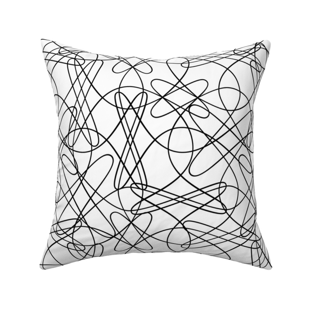 Catalan Throw Pillow featuring Lines and Loops - B+W by zuzana_licko
