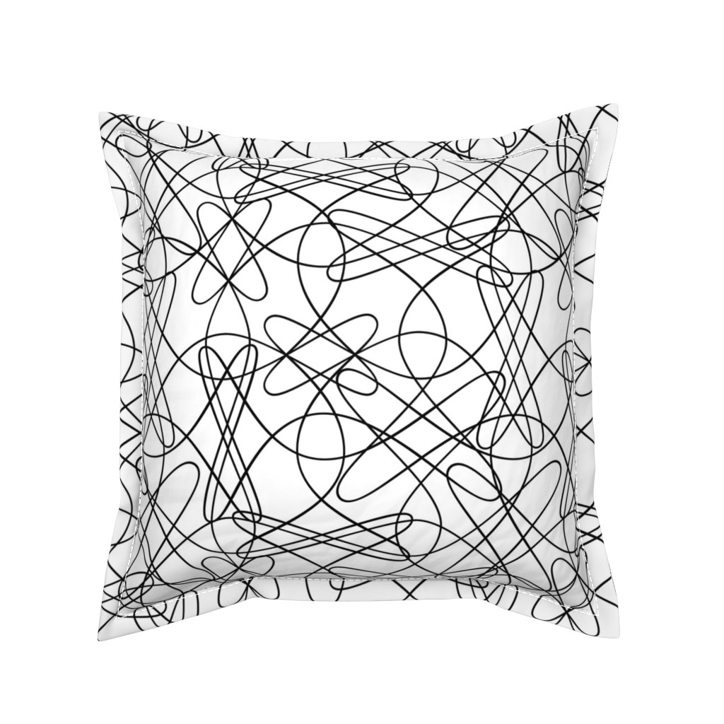 Serama Throw Pillow featuring Lines and Loops - B+W by zuzana_licko