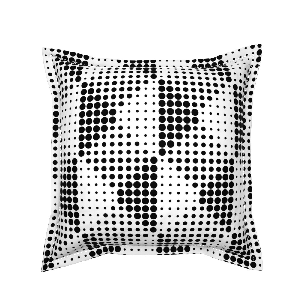 Serama Throw Pillow featuring Shadow Dots - B+W by zuzana_licko