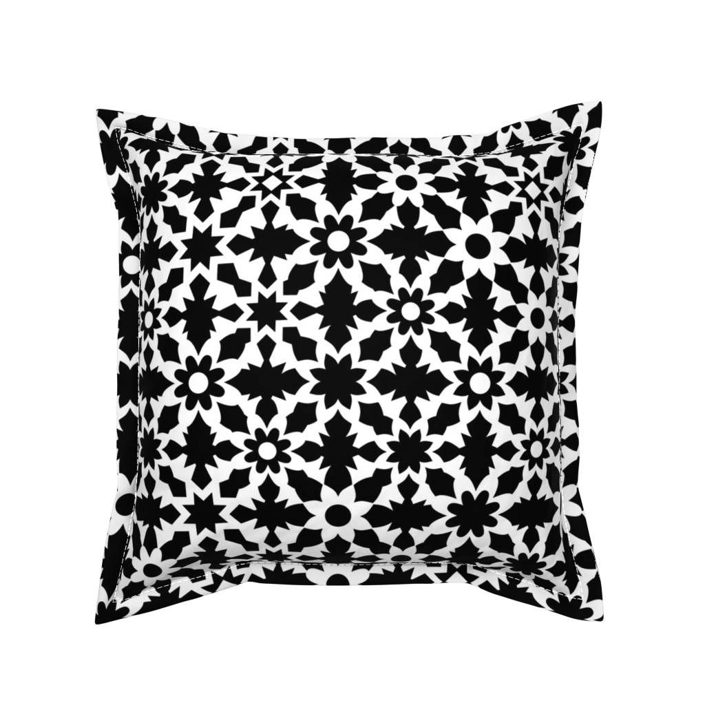 Serama Throw Pillow featuring Floral Field - B+W by zuzana_licko