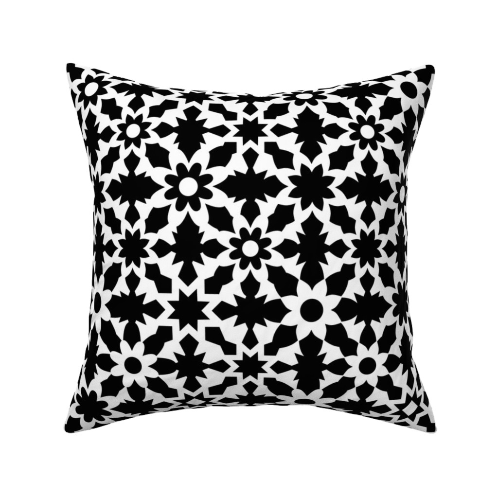 Catalan Throw Pillow featuring Floral Field - B+W by zuzana_licko