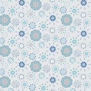 16-06n Scandinavian Abstract Flower || Navy Blue White Taupe Folk Floral Flower gray grey sky clouds  _Miss Chiff Designs