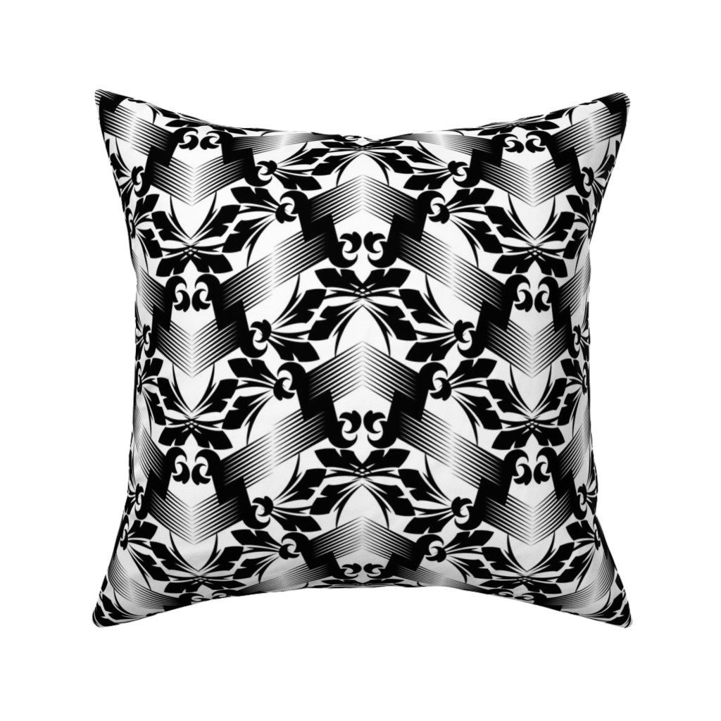 Catalan Throw Pillow featuring Leaf Lattice Lace - W+B by zuzana_licko