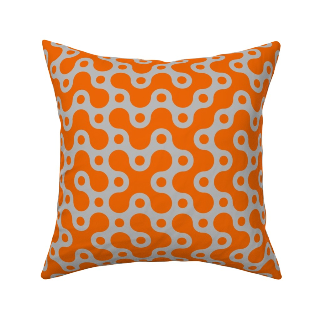 Catalan Throw Pillow featuring Connecting Dots - Grey Orange by zuzana_licko