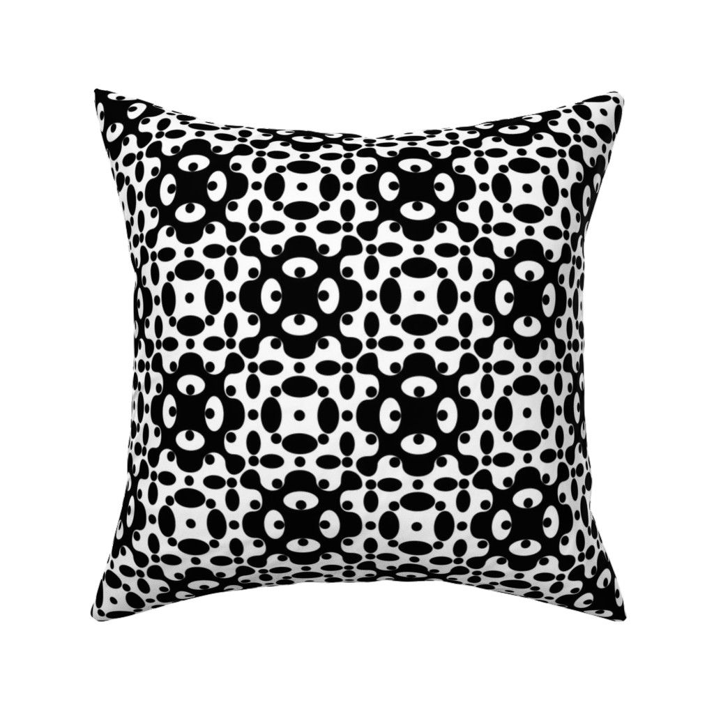 Catalan Throw Pillow featuring Organic Geometry - B+W by zuzana_licko