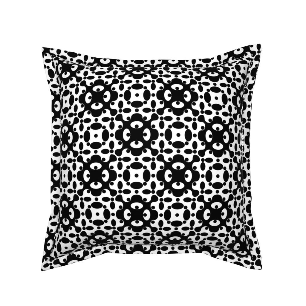 Serama Throw Pillow featuring Organic Geometry - B+W by zuzana_licko