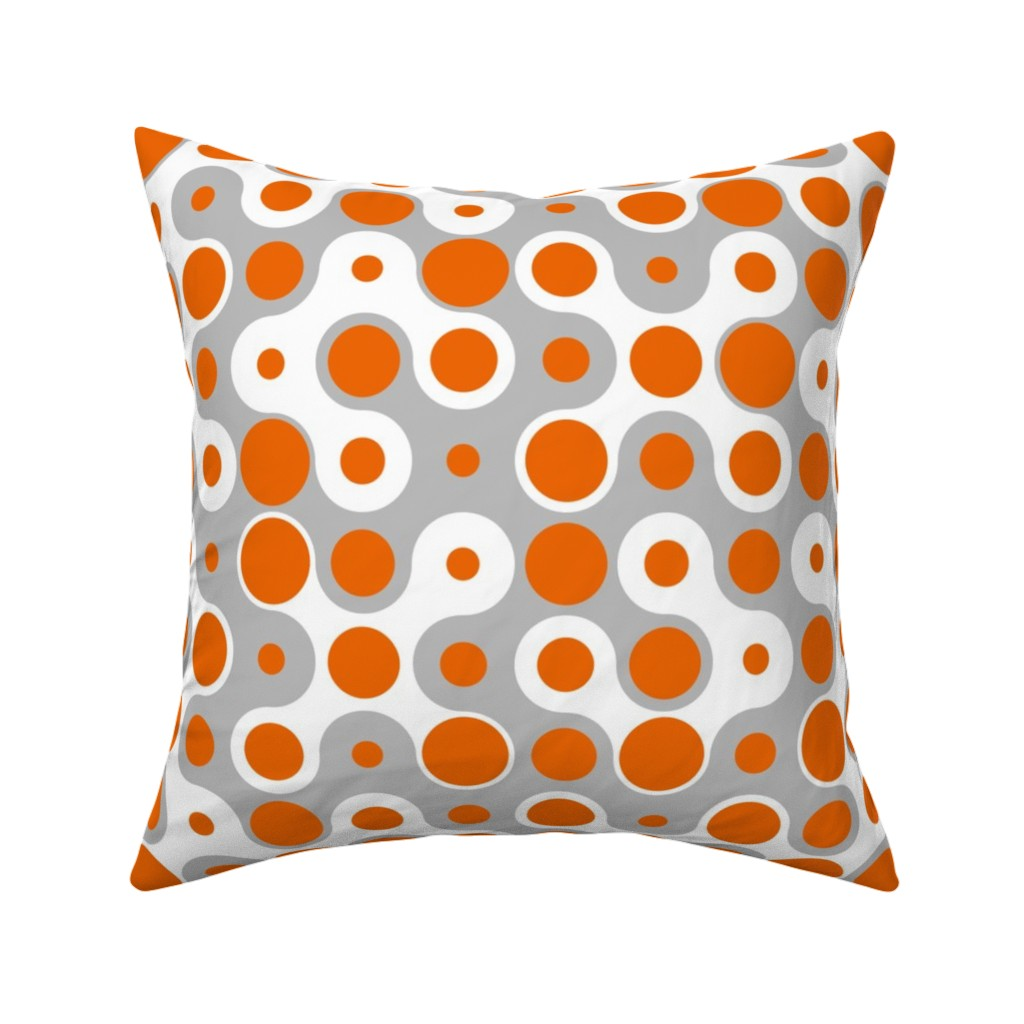 Catalan Throw Pillow featuring Connecting Dots - Orange Grey by zuzana_licko