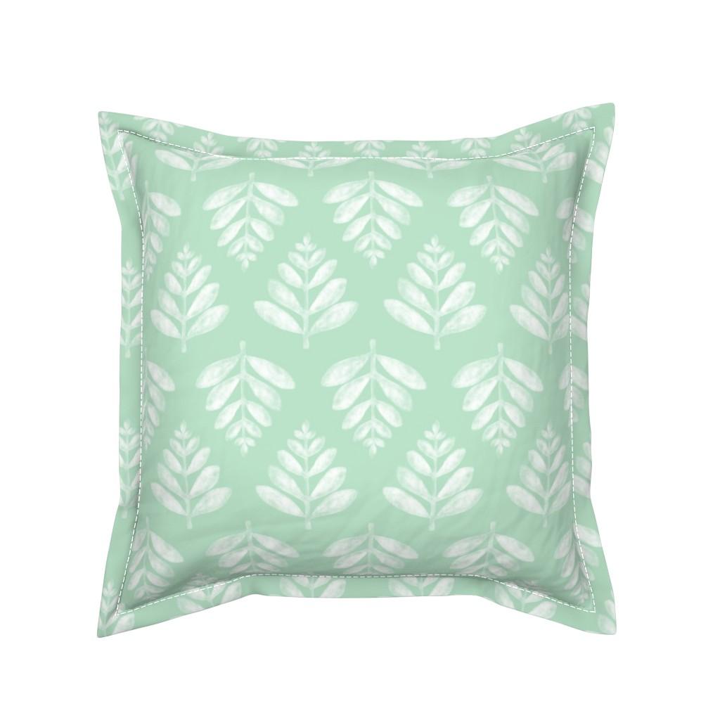 Serama Throw Pillow featuring Lau (Leaf) - Green by nick_neuman