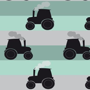 Tractor with stripes in mint