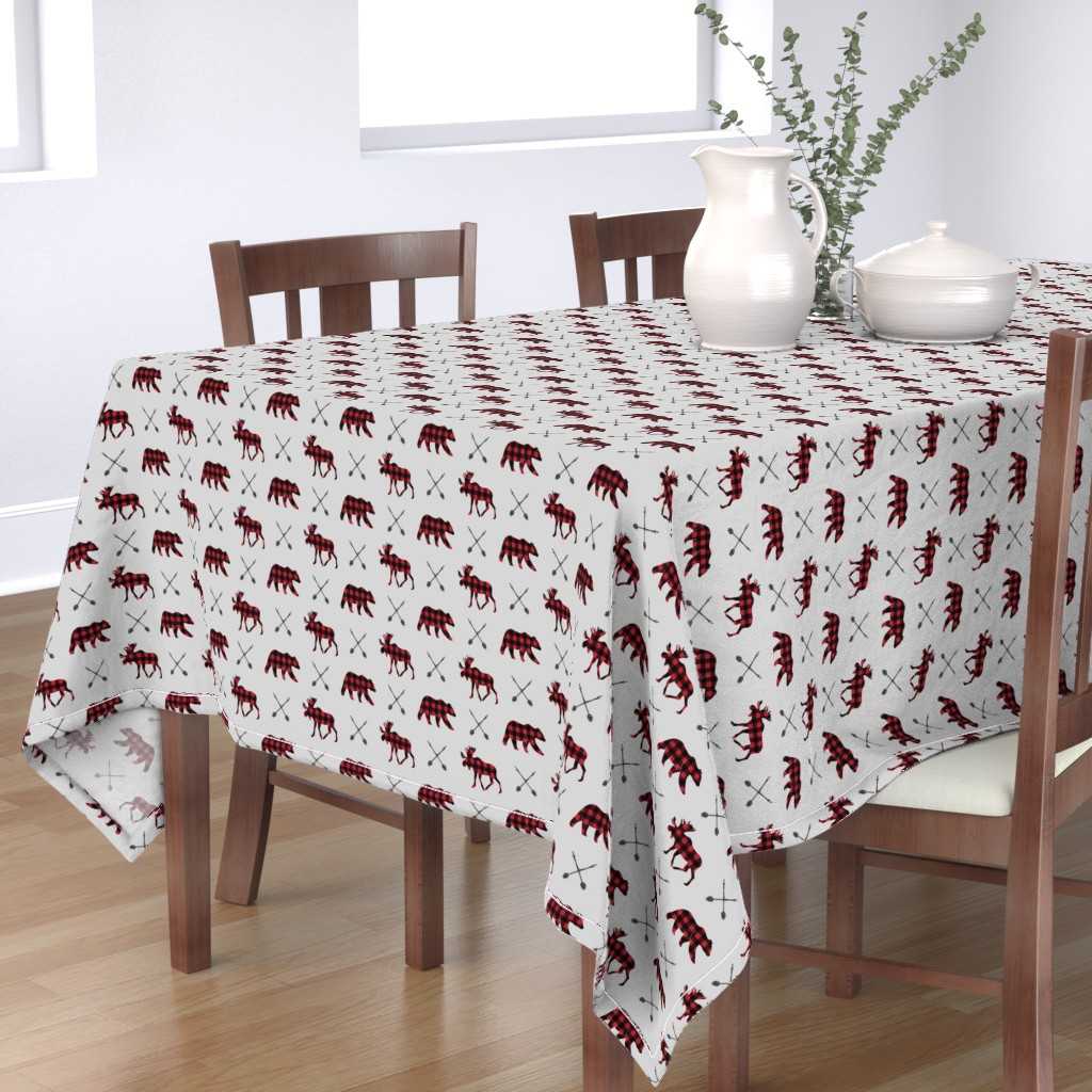 Bantam Rectangular Tablecloth featuring moose, bear, and arrows (fog) || the happy camper collection by littlearrowdesign