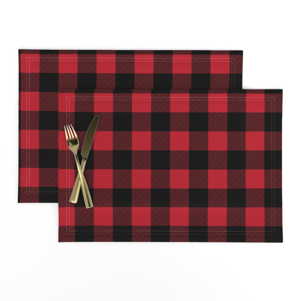Lamona Cloth Placemats featuring buffalo plaid || the happy camper collection by littlearrowdesign