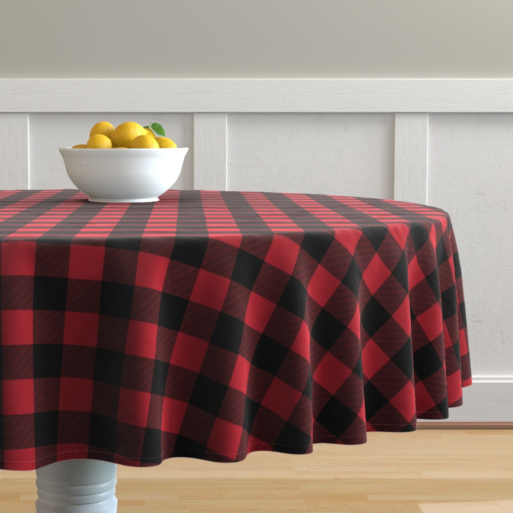 Malay Round Tablecloth featuring buffalo plaid || the happy camper collection by littlearrowdesign