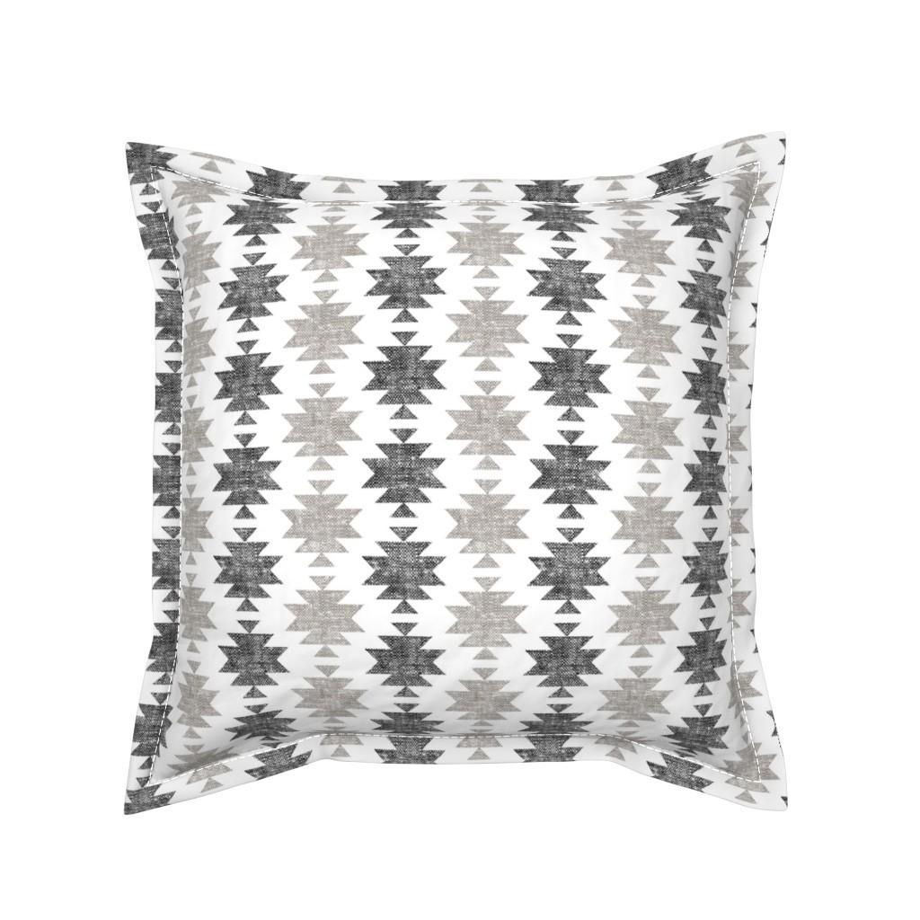 Serama Throw Pillow featuring modern aztec || woven neutrals by littlearrowdesign