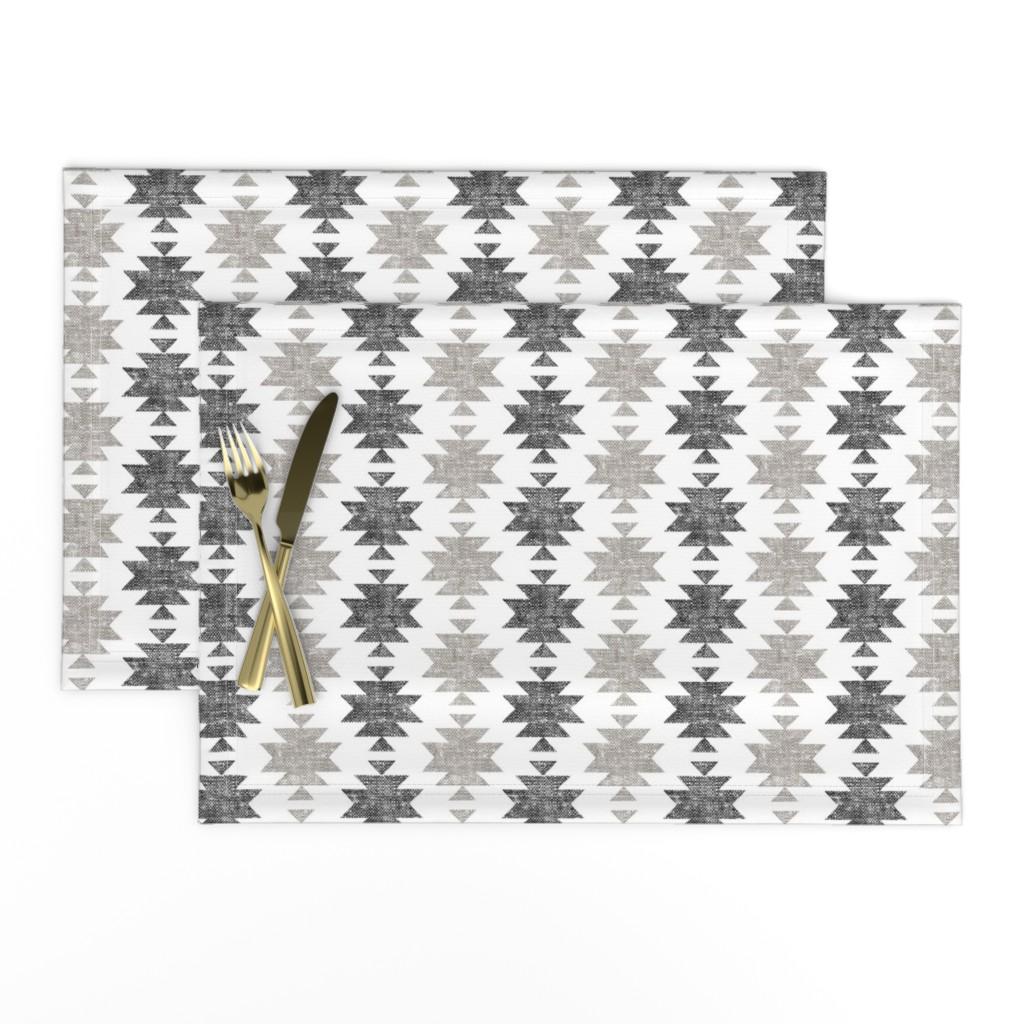 Lamona Cloth Placemats featuring modern aztec    woven neutrals by littlearrowdesign