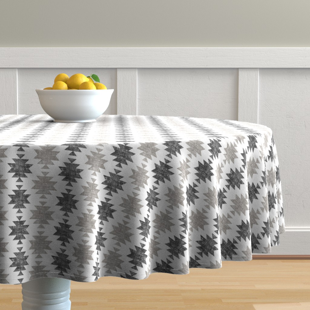 Malay Round Tablecloth featuring modern aztec || woven neutrals by littlearrowdesign