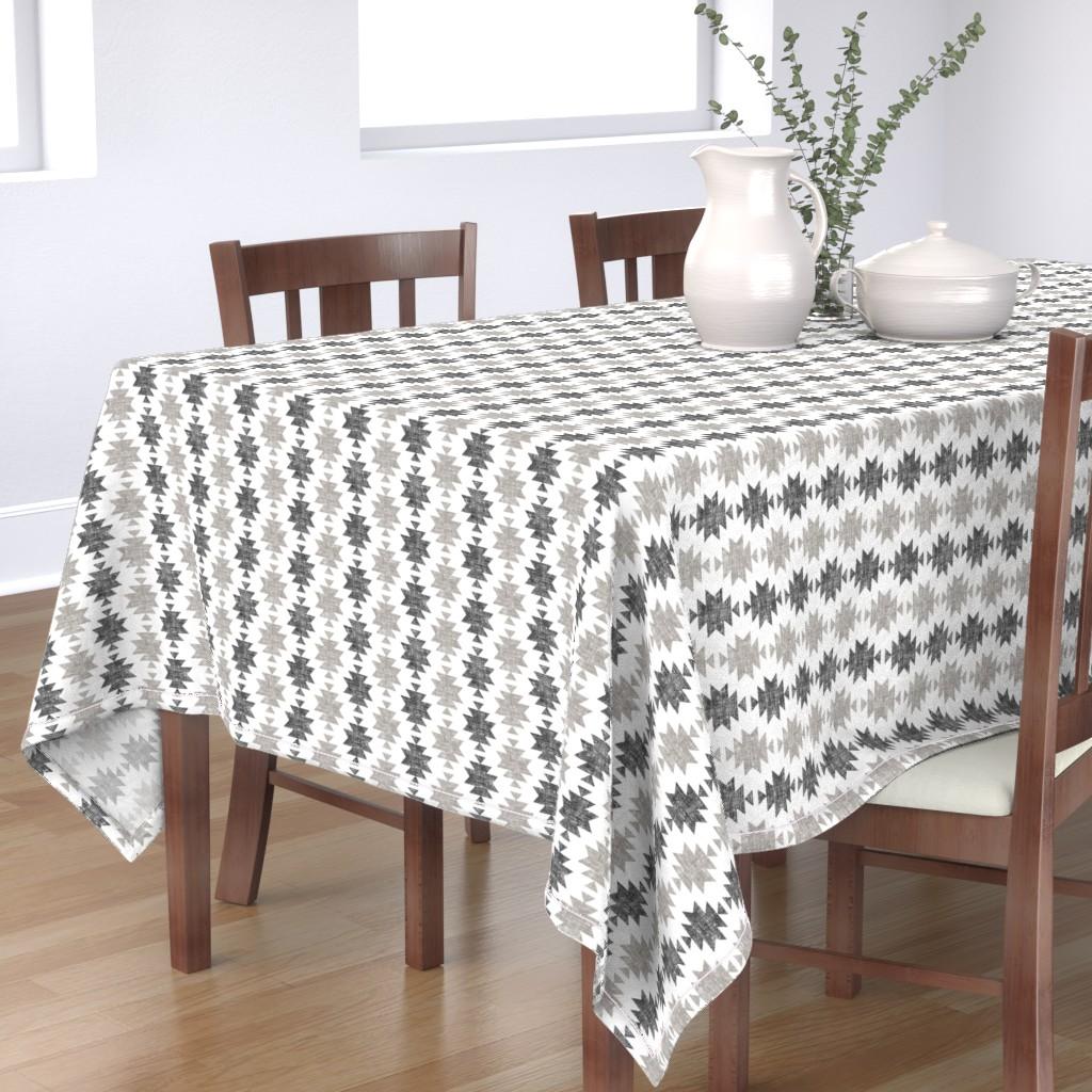 Bantam Rectangular Tablecloth featuring modern aztec || woven neutrals by littlearrowdesign