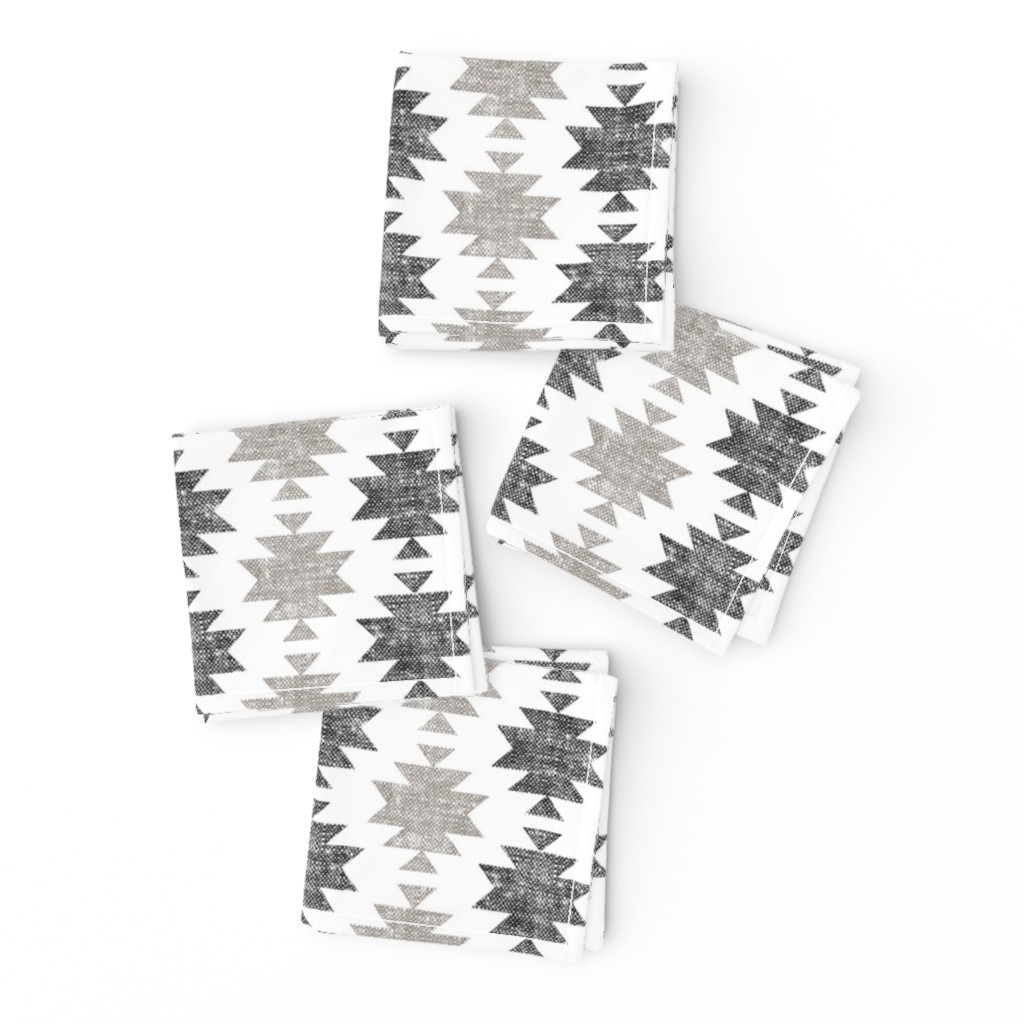 Frizzle Cocktail Napkins featuring modern aztec || woven neutrals by littlearrowdesign