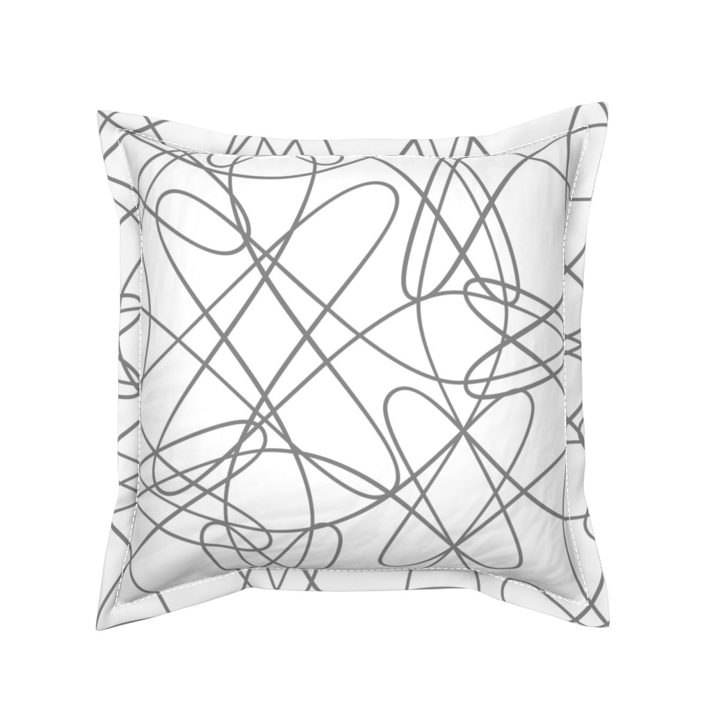 Serama Throw Pillow featuring lines and loops - grey by zuzana_licko