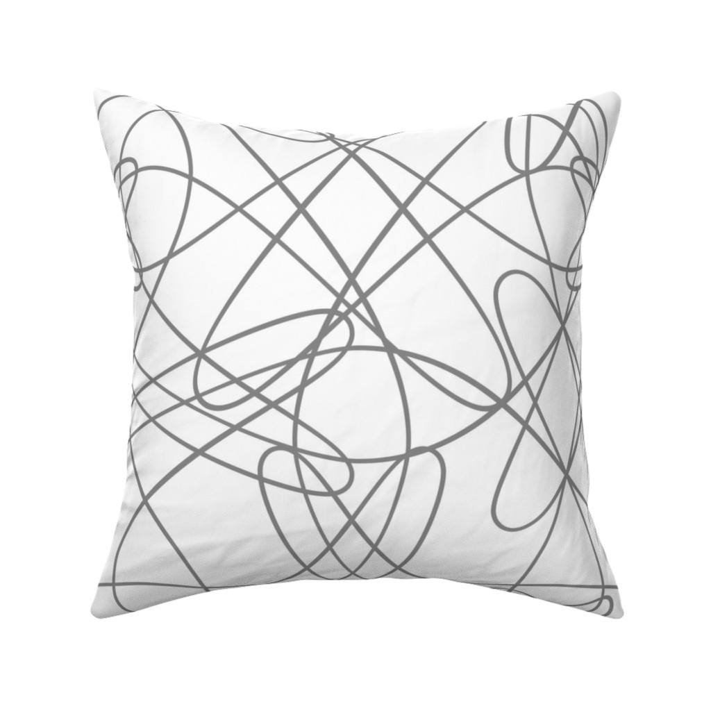 Catalan Throw Pillow featuring lines and loops - grey by zuzana_licko